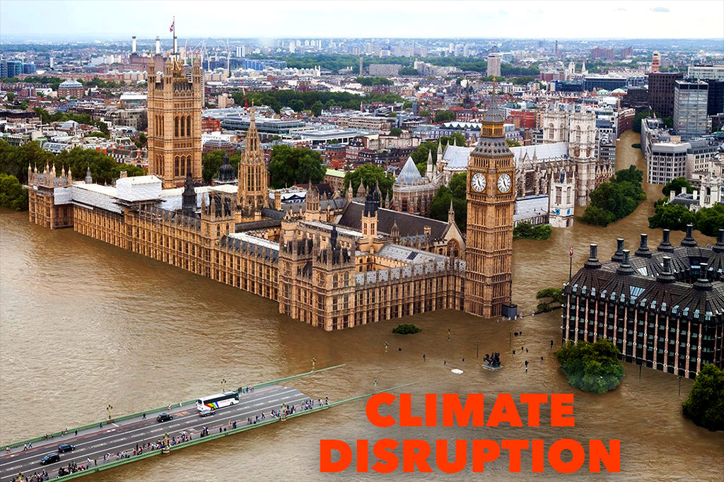 Parliament under water. Climate disruption.